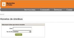 Consulta de horarios de ómnibus a través de web de IM