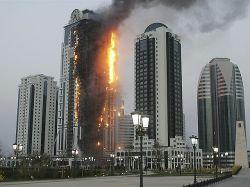 Arde rascacielos de 40 plantas en la capital de Chechenia