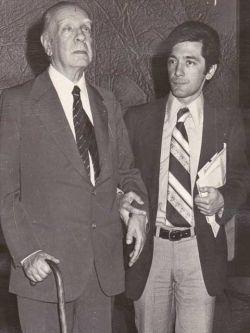 Ruben Loza Aguerrebere con Jorge Luis Borges. Gentileza de Ruben Loza Aguerrebere