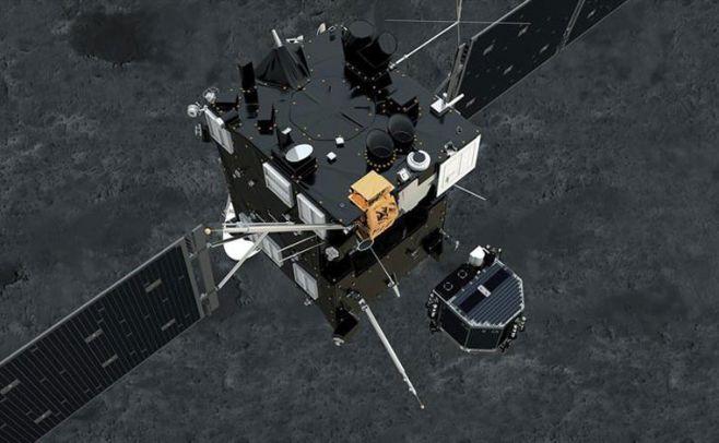 Fotograf�a facilitada por la Agencia Espacial Europea (ESA) de un fotograma de la animaci�n del m�dulo Philae mientras se separa de Rosetta y desciende sobre la superficie del cometa 67/P Churyumov-Gerasimenko.. EFE