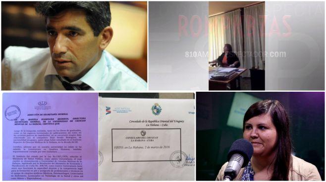 Raúl Sendic, Mariela Rodríguez Mederos, certificados y Florencia Carballo.