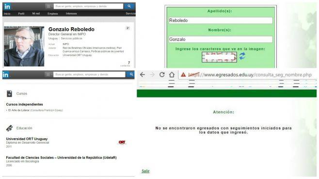 Perfil de LinkedIn y buscador www.bedelias.edu.uy de G. Reboledo