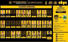 Convocados de Peñarol para enfrentar a Rampla