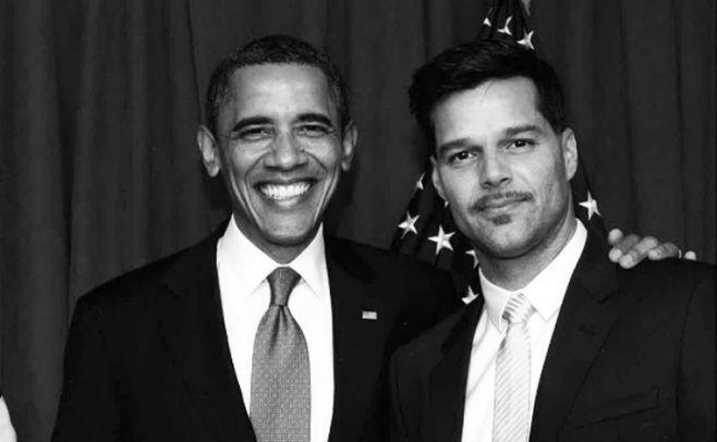 Ricky Martin agradece a Obama su gestión en EU. Con Javier Poza