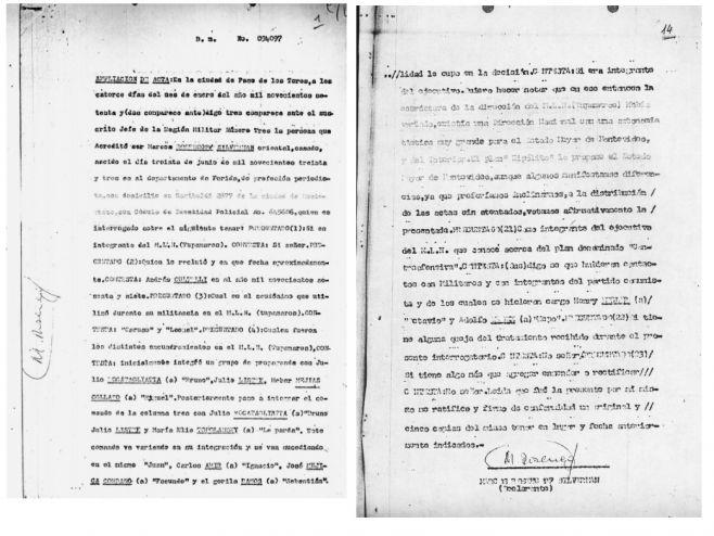 Testimonio de Mauricio Rosencof a las autoridades militares. (Facsímil)
