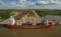 Con una inversión de 18 millones de dólares, Montes del Plata suma seis grúas a su logística